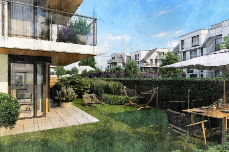 ogród przy mieszkaniach willowych